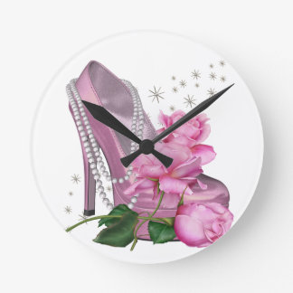 Pretty Pink Hi Heel Rose Round Clock