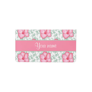 Pretty Pink Hibiscus Flowers Checkbook Cover