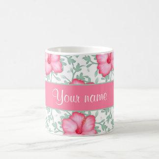 Pretty Pink Hibiscus Flowers Coffee Mug