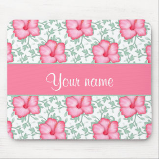 Pretty Pink Hibiscus Flowers Mouse Pad