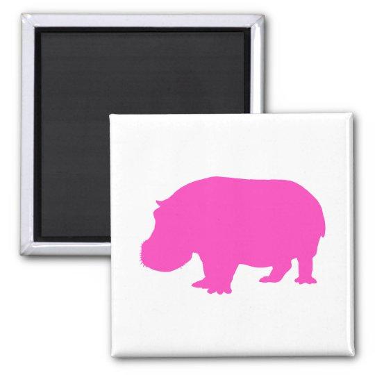 Pretty Pink Hippo Silhouette Magnet