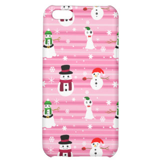 Pretty Pink Holiday Snowman Pattern Case For iPhone 5C