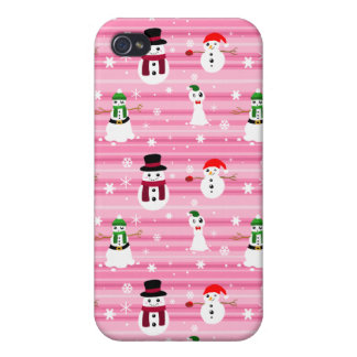 Pretty Pink Holiday Snowman Pattern Cover For iPhone 4