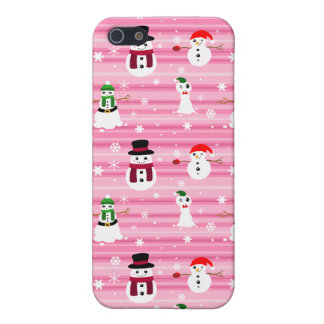 Pretty Pink Holiday Snowman Pattern Covers For iPhone 5