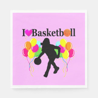 PRETTY PINK I LOVE BASKETBALL PAPER NAPKINS