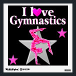 """PRETTY PINK I LOVE GYMNASTICS DESIGN WALL STICKER<br><div class=""""desc"""">This awesome and amazing Gymnast will fall in love with this pretty pink sparkling I love Gymnastics design on Tees, wall art, home decor and Gifts. This cute and adorable Gymnast is pursuing her goals and dreams to become an all around International Gymnastics Champion. This one of a kind Gymnastics...</div>"""