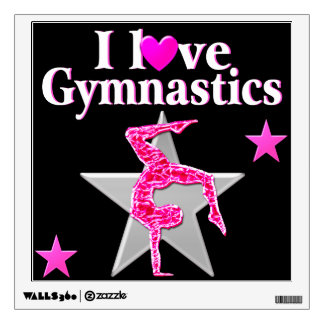 PRETTY PINK I LOVE GYMNASTICS DESIGN WALL STICKER