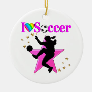 PRETTY PINK I LOVE SOCCER DESIGN CERAMIC ORNAMENT