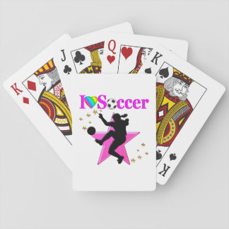 PRETTY PINK I LOVE SOCCER DESIGN PLAYING CARDS