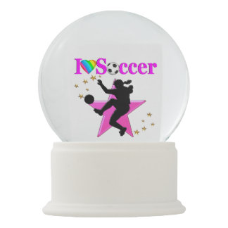 PRETTY PINK I LOVE SOCCER DESIGN SNOW GLOBE