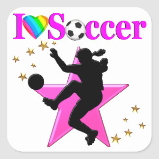 PRETTY PINK I LOVE SOCCER DESIGN SQUARE STICKER