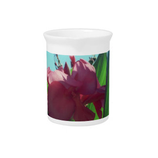 Pretty Pink Iris in Bloom Beverage Pitcher