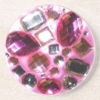 Pretty Pink Jewel Bling Beverage Coaster