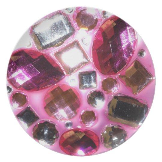 Pretty Pink Jewel Bling Melamine Plate