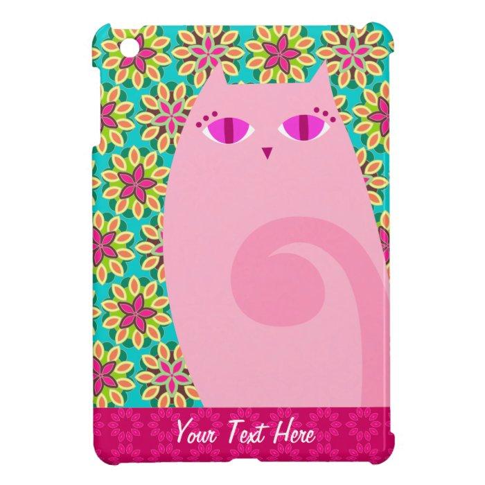 Pretty Pink Kitty on Floral Custom iPad Mini Case