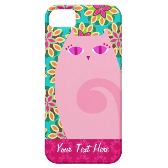 Pretty Pink Kitty on Floral - Custom iPhone 5 Case