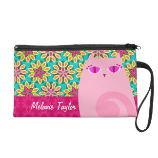 Pretty Pink Kitty on Floral - Custom Mini Bag Wristlet Clutches