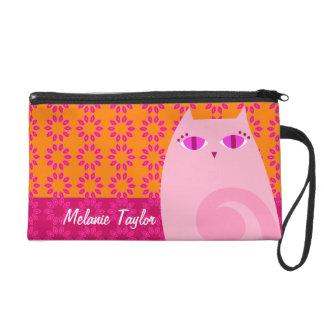 Pretty Pink Kitty on Orange - Custom Mini Bag Wristlet Purse