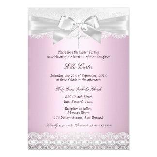 Pretty Pink Lace Cross Baptism Invite