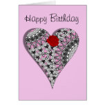 Pretty Pink Lace Heart Red Rose Birthday Card