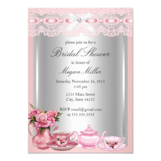 Pretty Pink lace High Tea Bridal Shower Card