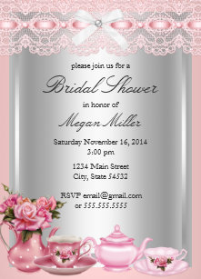 pretty pink lace high tea bridal shower invitation