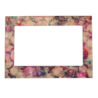 Pretty Pink Lace Roses Magnetic Frame