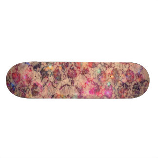 Pretty Pink Lace Roses Custom Skateboard