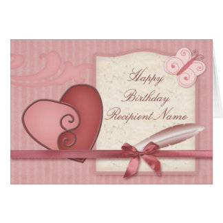 Pretty Pink Loveheart and Butterfly Birthday Card
