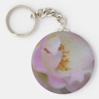 Pretty pink macro rose keychain