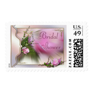 Pretty Pink Magnolia Butterfly Sparkle Baby Shower Postage