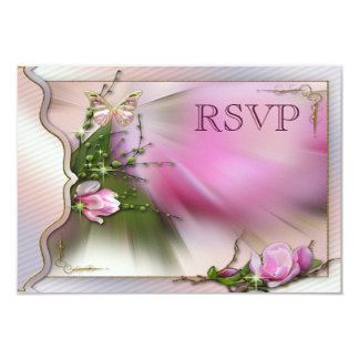 Pretty Pink Magnolia Butterfly Sparkle RSVP Card