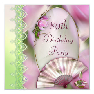 Pretty Pink Magnolia & Fan 80th Birthday 5.25x5.25 Square Paper Invitation Card