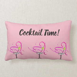 Pretty Pink Martini Cocktail Time Pillow