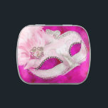 """Pretty Pink Masquerade Party Candy Candy Tin<br><div class=""""desc"""">Pink feather mask pink masquerade party candy and mint tins. You can add or delete text,  choose your size,  shape,  quantity and candy flavor!</div>"""