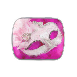 Pretty Pink Masquerade Party Candy Candy Tin
