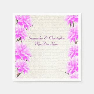 Pretty pink mauve lilac floral country wedding standard cocktail napkin