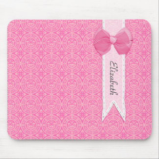 Pretty Pink Medallion Damask Cute Bow With Name Mouse Pad