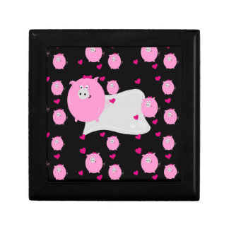 Pretty pink micropig pattern accesories, add name trinket boxes