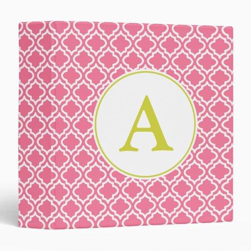 Pretty Pink Monogram Binder