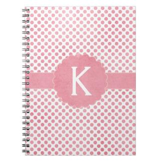 Pretty Pink Monogram Polka Dots Spiral Note Book