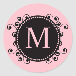 Pretty Pink Monogram Wedding Sticker