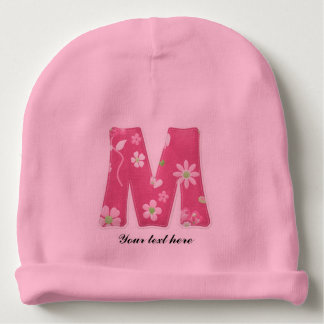 Pretty Pink Monogrammed Baby Beanie  with Flowers