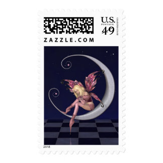 Pretty Pink Moon Fairy in Starry Nighttime Postage