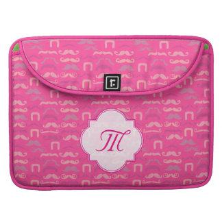 Pretty pink mustache laptop bag. MacBook pro sleeve