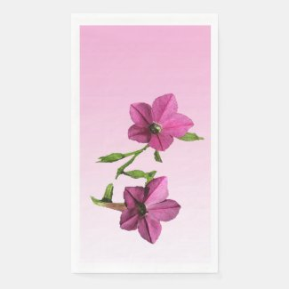 Pretty Pink Nicotiana Flowers Paper Guest Towel