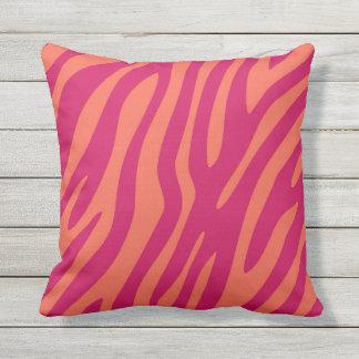 Pretty Pink Orange Animal Print Zebra Leopard Throw Pillow