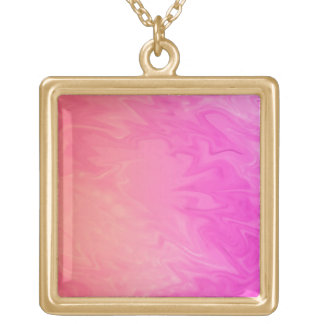 pretty pink orange background gold plated necklace