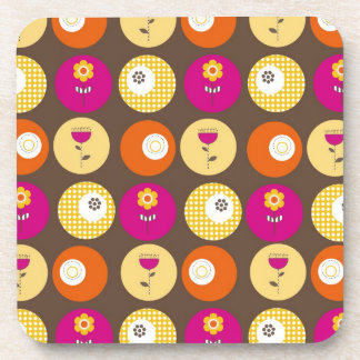 Pretty Pink Orange Yellow Flowers Polka Dot Print Beverage Coaster