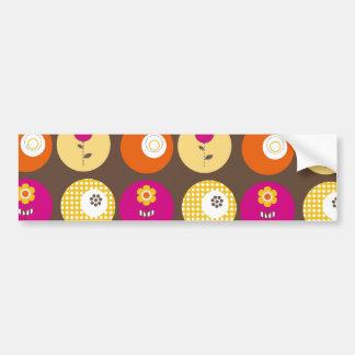 Pretty Pink Orange Yellow Flowers Polka Dot Print Bumper Sticker